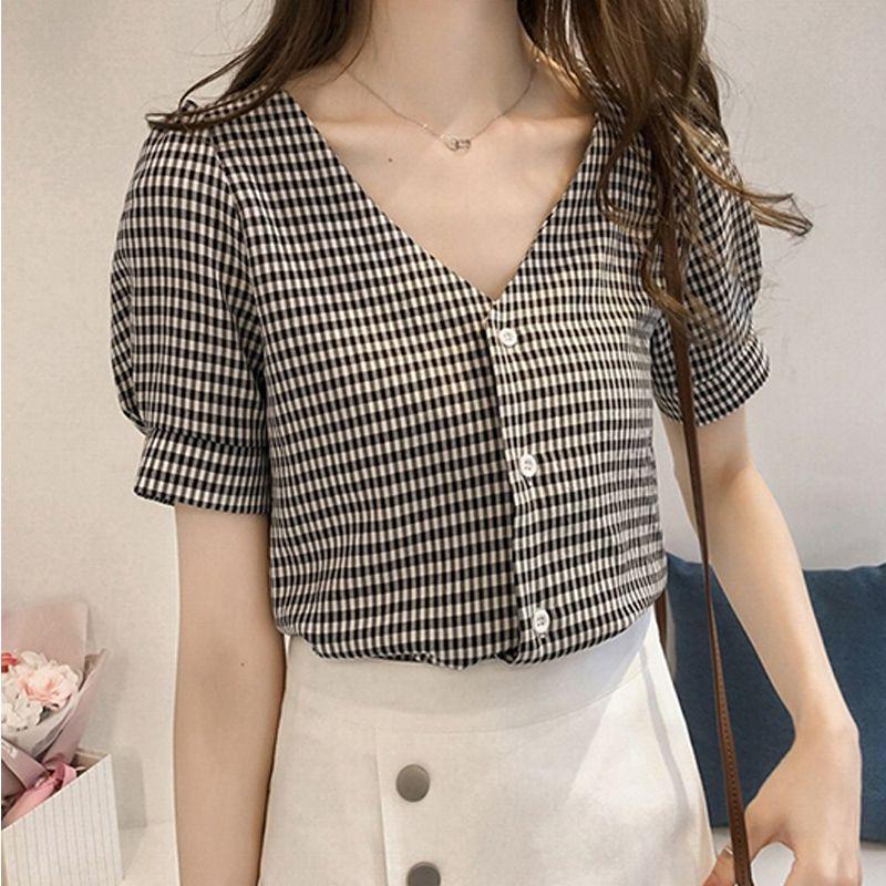 Женщины V шеи вскользь Дамы Блузки Топы с коротким рукавом клетчатые рубашки Женщины блузка рубашка