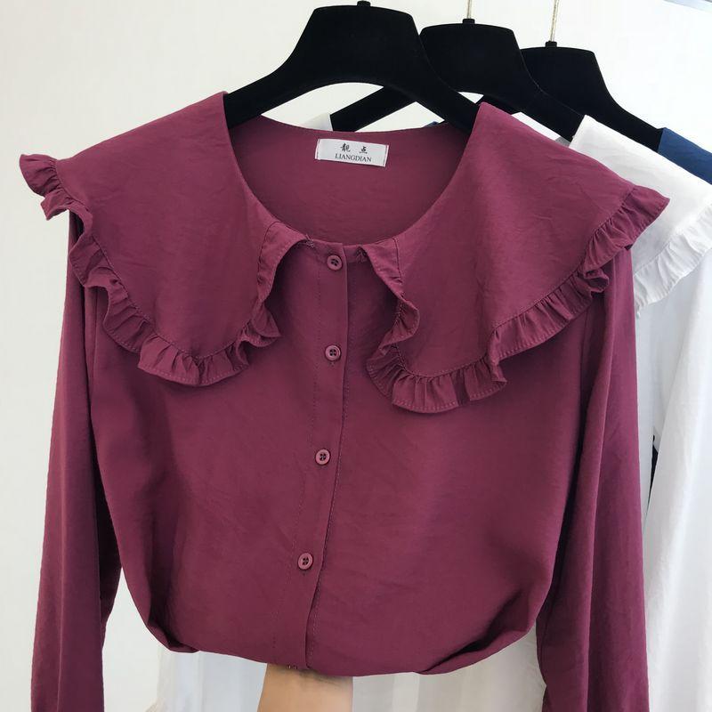 2020 Early Autumn donna camicette stile della bambola del New coreano collare a maniche Blusa signora di disegno chiffon lungo shirt da donna Camicie