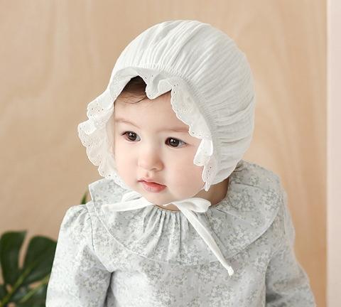 I2ZmG Nouveau monochrome chapeau casquette fœtal pur princesse de coton fille bébé froissée chapeau bébé chapeau de pneu pur coton MZ2289