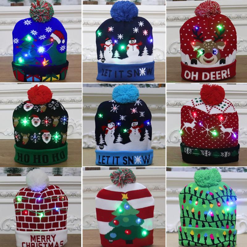 Cappello maglione lavorato a maglia Natale Light-up di Natale del Beanie della protezione della luce LED Maglione casa regalo di Natale Capodanno per i bambini di natale decorazioni