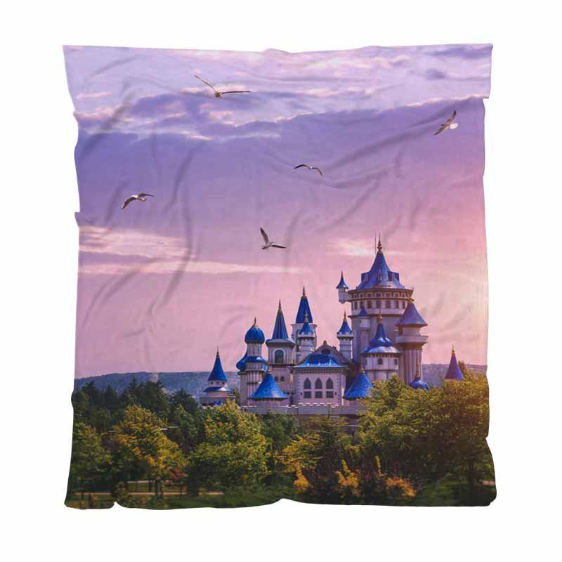 Sunset Warm Flannel Fleece Towel Blankets The Fairytale Castle In The Lightweight Warm Blanket For Bed Couch Sofa Outdoor Travel