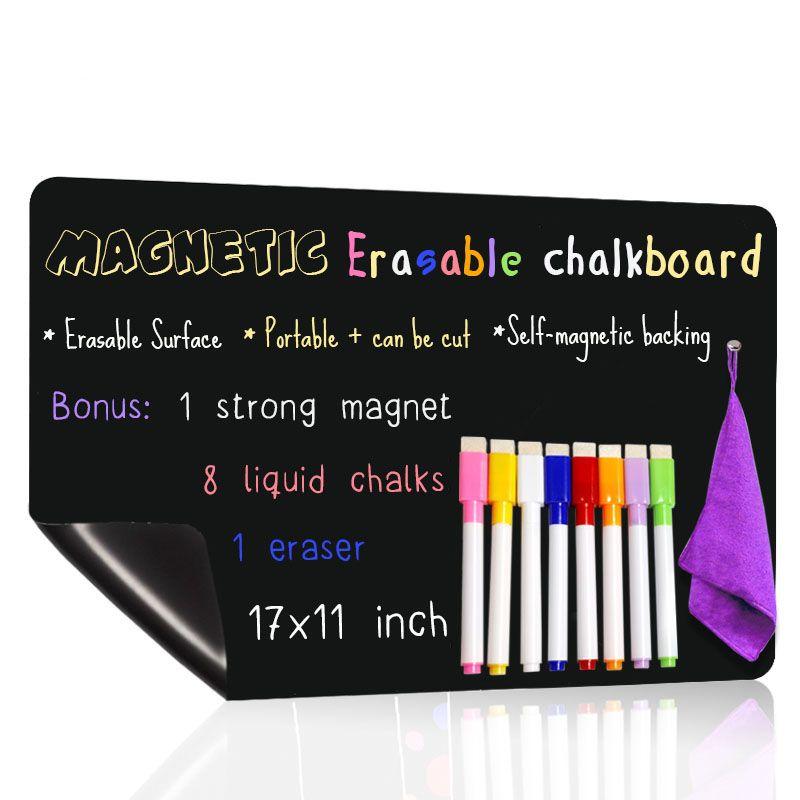"""17 * 11"""" Magnetic Schwarze Kreide-Brett für Küche Refridgerator Individuelle tafel Kühlschrank Aufkleber Mit 8 Magnetic Marker"""