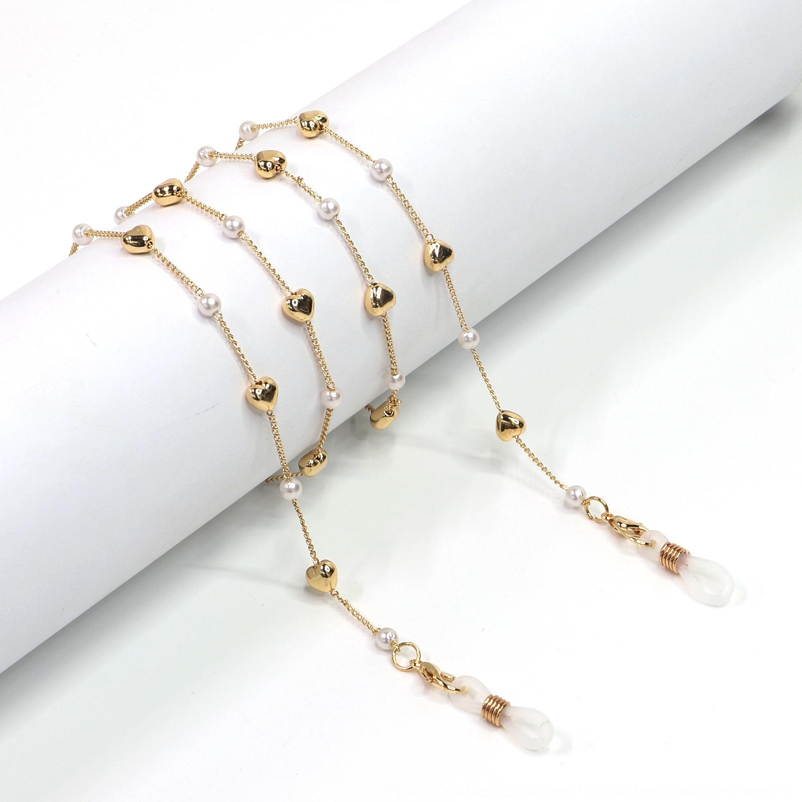 gfjIh Espelho amo moda simples quente de ouro pérola coração corda Pérola óculos óculos cadeia máscara cadeia