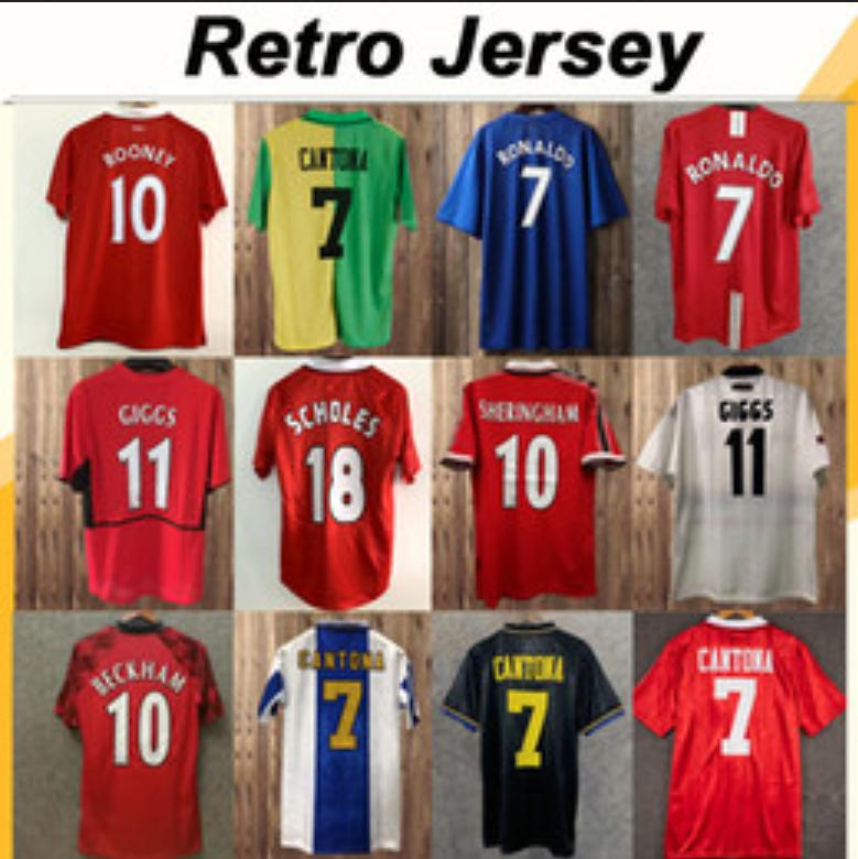 Livraison Gratuite 1984 1988 Jersey de football United Soccer 1990 92 94 96 98 United Ronaldo Beckham Cantona Keane Scholes Giggs Chemise de football