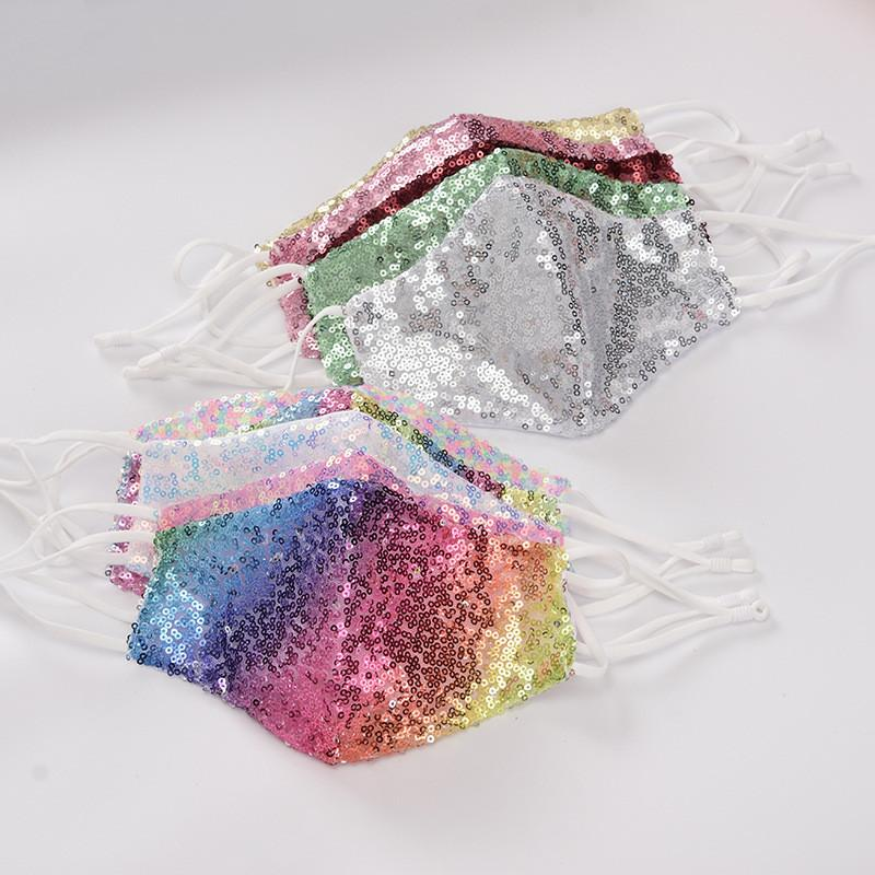 Sequin máscara máscaras verano señoras de la moda transpirable de tela reutilizables a prueba de polvo lavable adulto boca cara Máscaras color 10 DWF218