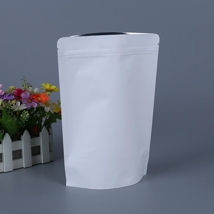 Factory Direct Sales White Kraftpaper Aluminum-Plated Self-Supporting Ziplock Bag Universal Self-Supporting Plastic Bag Processing Printable