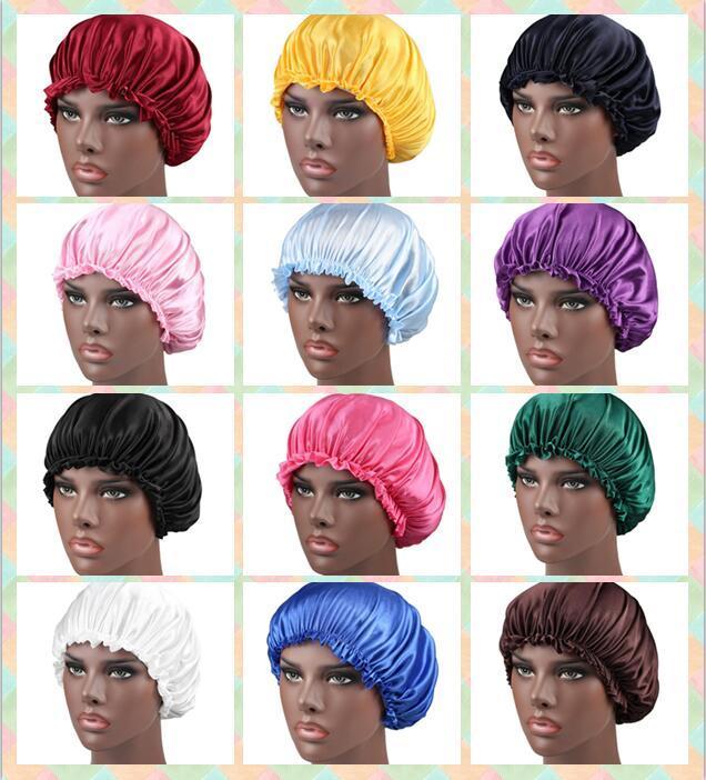 19 выбора цвета Эластичные плиссированные Глава шнурок шелковый сатин Night Hat Женщины Обложка Sleep Caps Bonnet Уход за волосами Мода Ванна колпачок