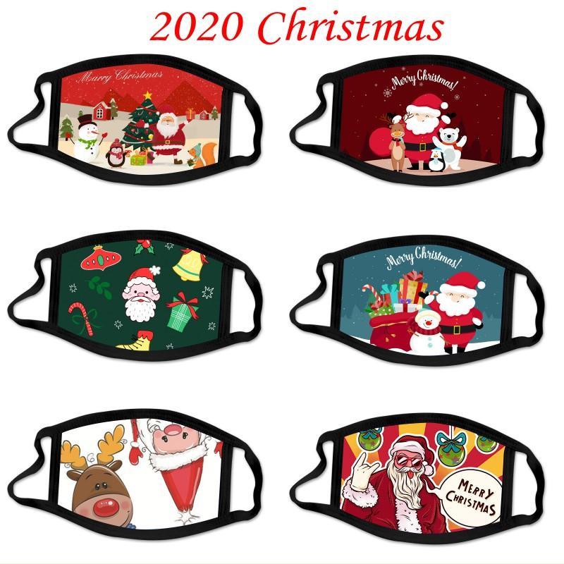 DHL 2020 Designer Weihnachten Gesichtsmaske Staubdichtes Breathable Weihnachtsmann Elk Printing Cotton Maske Erwachsene Weihnachten Gesichtsmasken