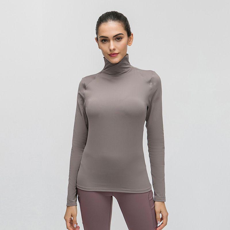 Lu encabeza malla collar del soporte de otoño lu ropa de yoga agradable a la piel desnuda de la aptitud superior estiramiento manga larga delgada de la camiseta para las mujeres camisas lu gimnasia