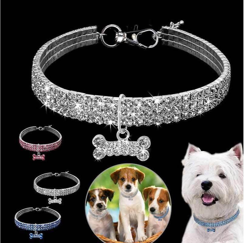 مطاطا قوة الكلب الياقات 3 صفوف حجر الراين المقود إمدادات الحيوانات الأليفة الكلاب طوق قابل للتعديل سلسلة العظام تزيين 9 9CZ F2