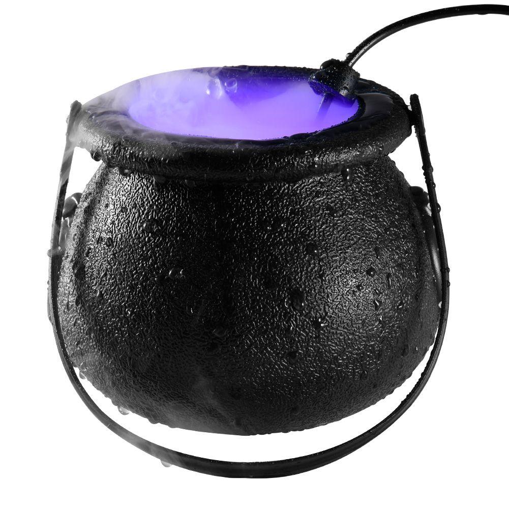 할로윈 마녀 분무기 램프 할로윈 장식 마녀 서리 낀 냄비 LED 안개 기계 조명 3 색 변화하는 분위기 파티 장식