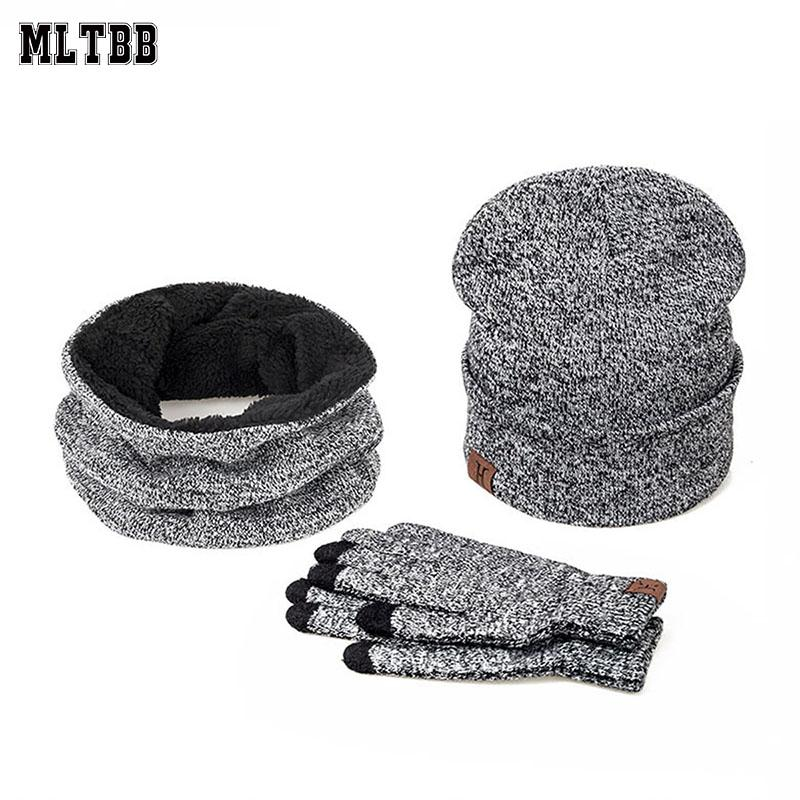 MLTBB 3 Stück Winter-Hut-Schal und Handschuhe Set Damen Herren Winter Ski Strickmütze Unisex Solid Color Ring-Schal-Handschuhe