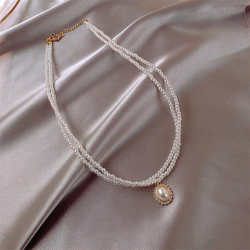 FYUAN elegante 2 strati Pearl collane del Choker per le donne clavicolare catena ovale pendente Matrimoni monili dei regali del partito