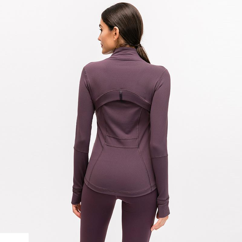 L-78 sonbahar kış yeni fermuar ceket hızlı kurutma yoga giysi uzun kollu başparmak delik eğitim koşu ceket kadınlar ince spor ceket