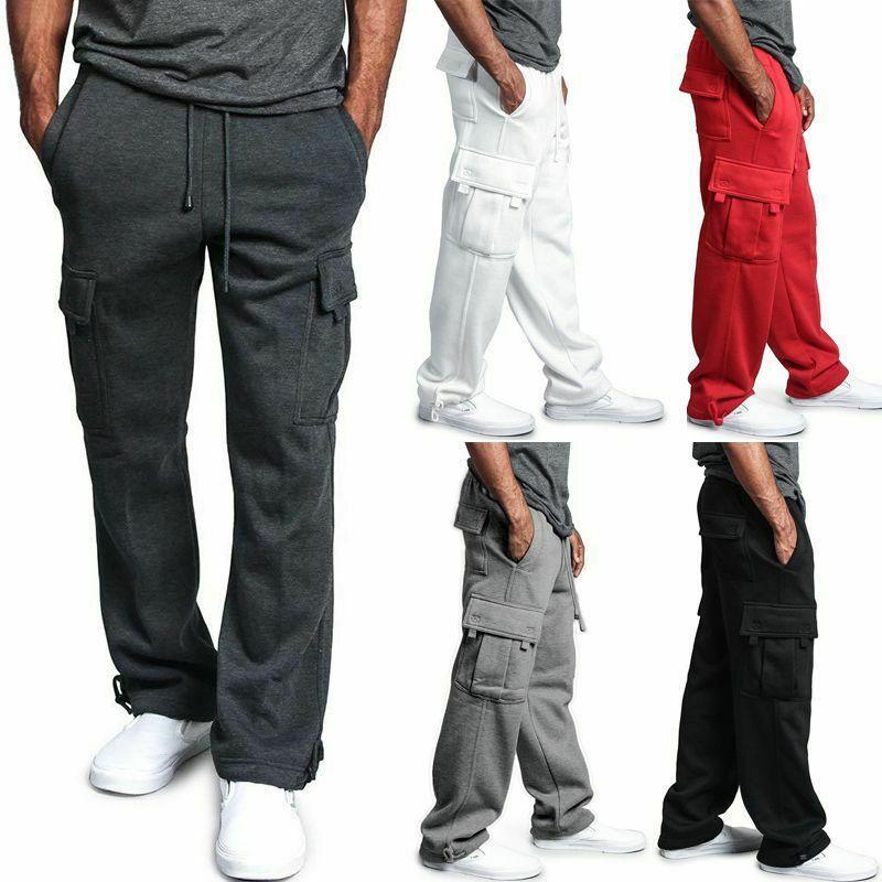 Mens Cargo Pants Joggers Cotton Sweat Pants 운동 느슨한 바지 긴 남성 운동복 스웨트 팬츠 힙합 Streetwear 4XL