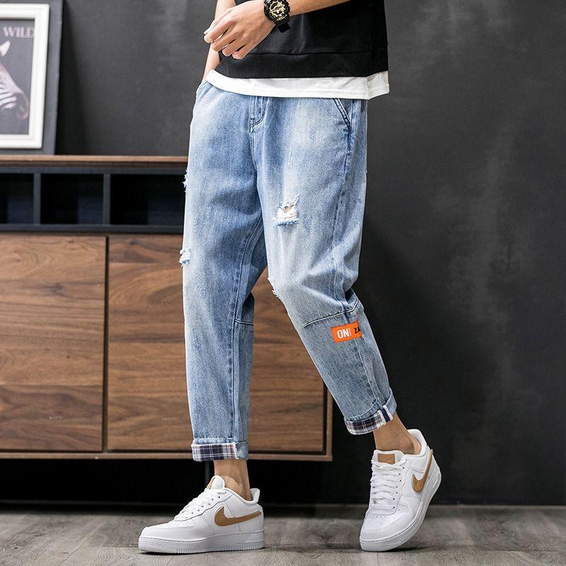 jeans de marque hommes lâches pantalons droits de l'automne nouveaux hommes de la mode et des jeans jeunes Tout match pantalon déchiré papa occasionnel jky2h