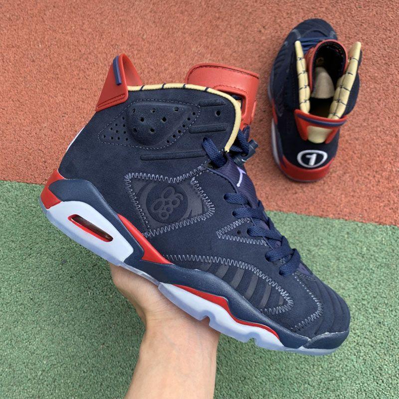 Erkekler Spor Sneakers Boyutu 40-47 İçin En Kalite Jumpman 6 VI 6s DB Doernbecher Gece Lacivert Süet Basketbol Ayakkabıları