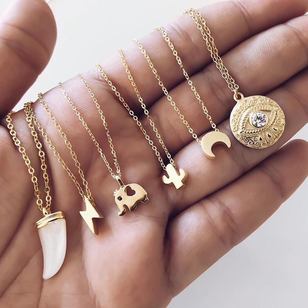collar de ojo de largo el mal luna colgante de la cadena del oro comunicado inicial regalos para las mujeres
