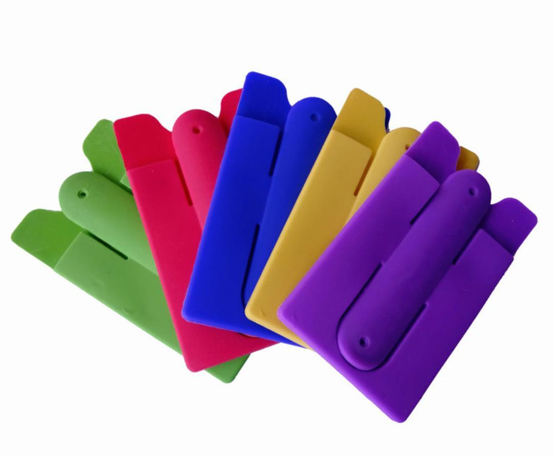 Smart Silicone Mobile Phone Wallet Card 3M Stick Back Cash Credit Card Stand Holder for Iphone