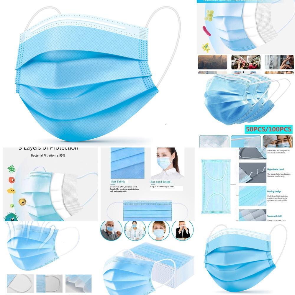 1-200PCS máscara descartável Thick 3-Ply Non-Woven Máscaras com elástico Ear face H3AVZ KZ Azul