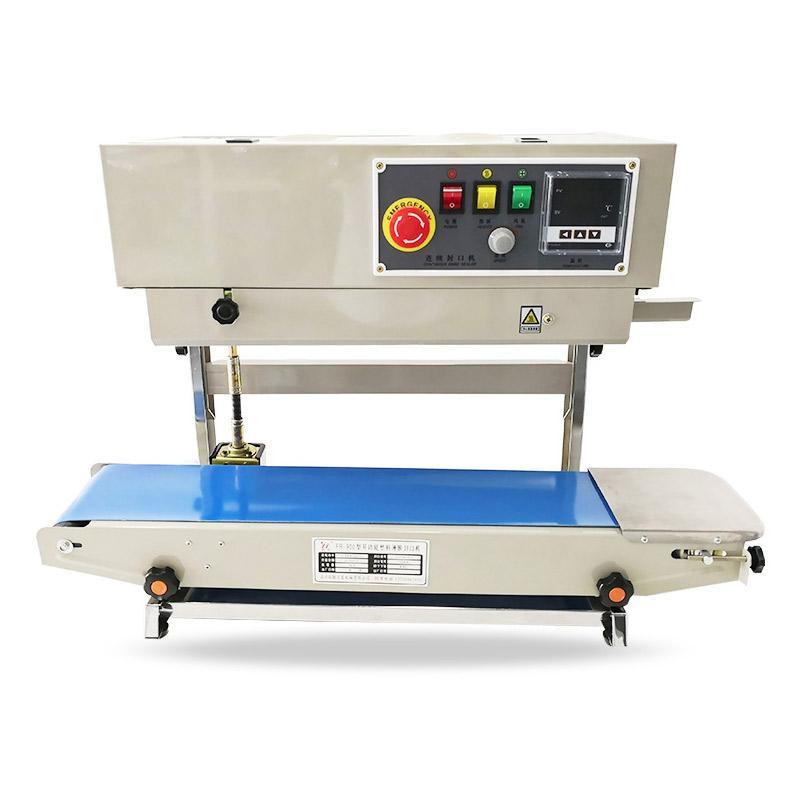 Macchina per tenuta alimentari sottovuoto 220V / 110V FR-900 Sigillante a banda continua verticale Sigillatore automatico per la data stampabile