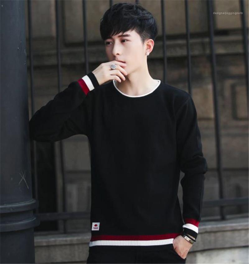 Slim Panelled Pullover collo di squadra del Mens dei maglioni casual Maschi Abbigliamento Stripe Panelled Mens Designer maglioni di moda