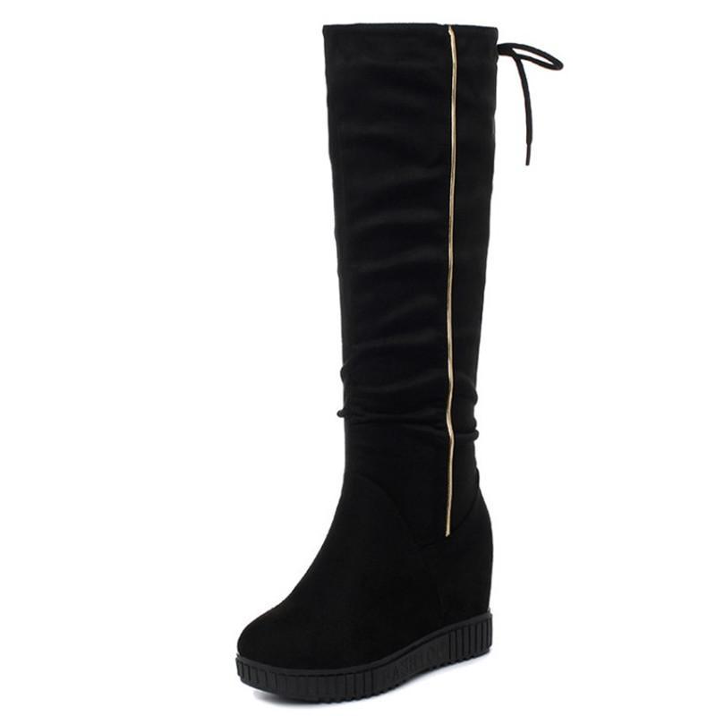 Diz Yüksek Boots Kadınlar dolgu ayakkabı Kış Beyaz Deri Ayakkabı Kadınlar Yüksek Boots Platformu Büyük Beden