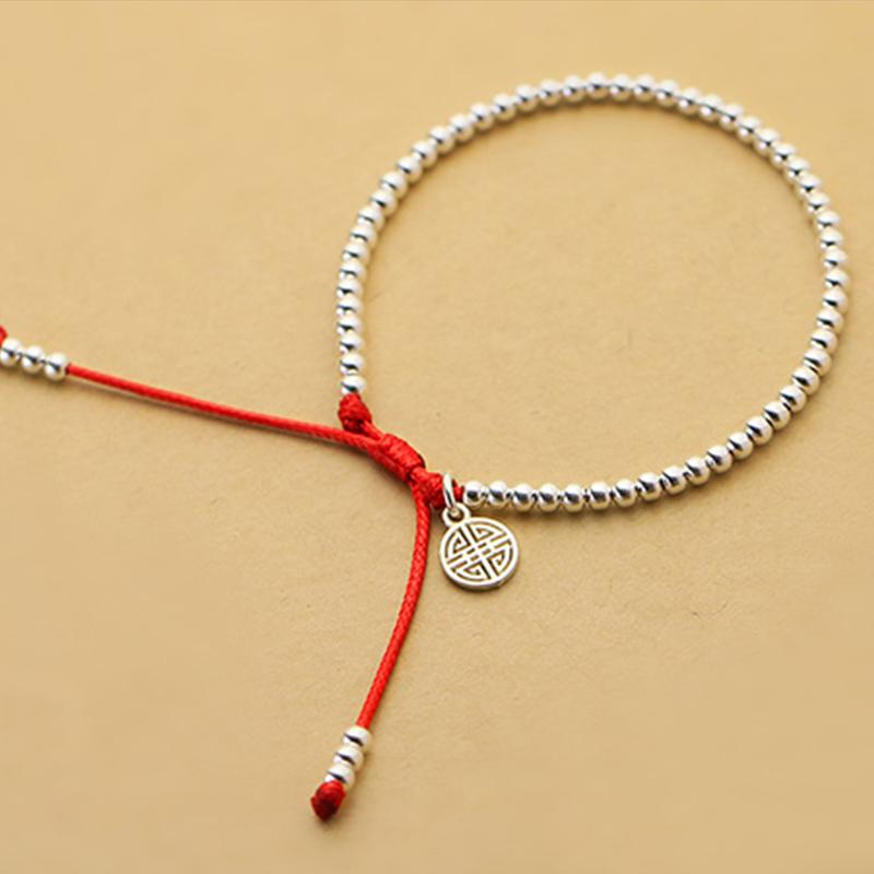 ganze SaleNew S925 Sterlingsilber-Korn-Armband-handgemachte Lucky Red Rope Armband NJewelry