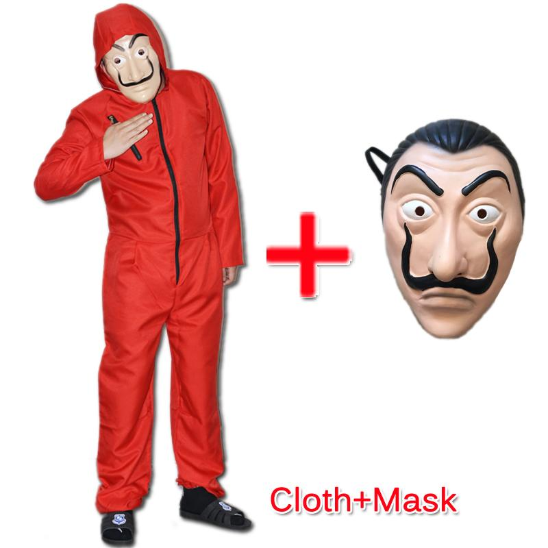 Halloween Cos play Dali Movie Unisex Costume for La Casa De Papel Red Overall Plus Mask Halloween