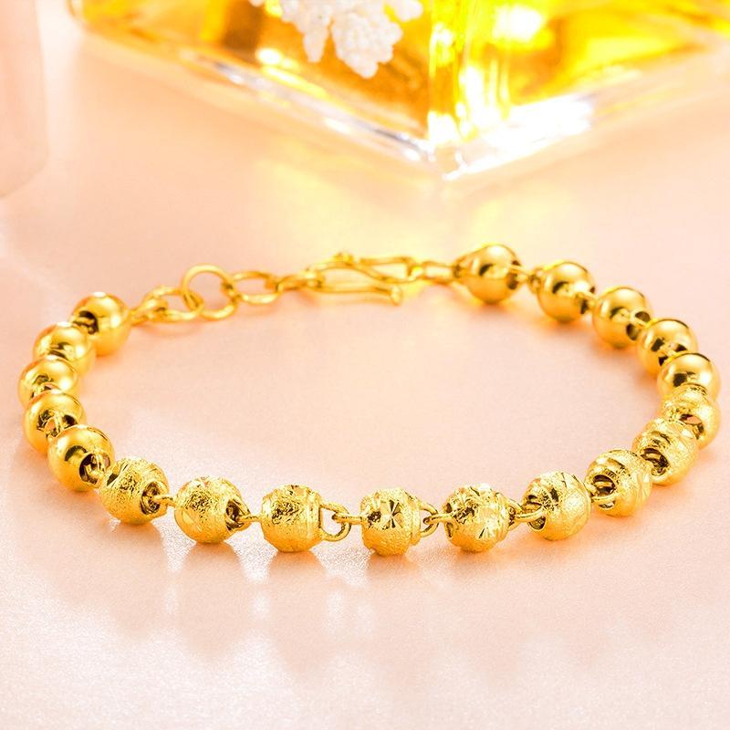 MQkWB -plated helado desde hace mucho tiempo que no se desvanece pulsera de joyería de moda de la moneda de Vietnam pulsera de oro de la arena de oro de imitación de las mujeres redondas