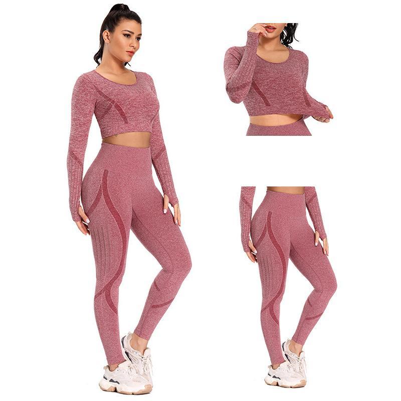 Kadın Şeftali Kalça Yoga Giyim Takım Elbise Sonbahar ve Kış Hızlı kuruyan Nefes Spor Giyimi, sıkıca oturan Kesintisiz Yüksek bel Uzun kollu
