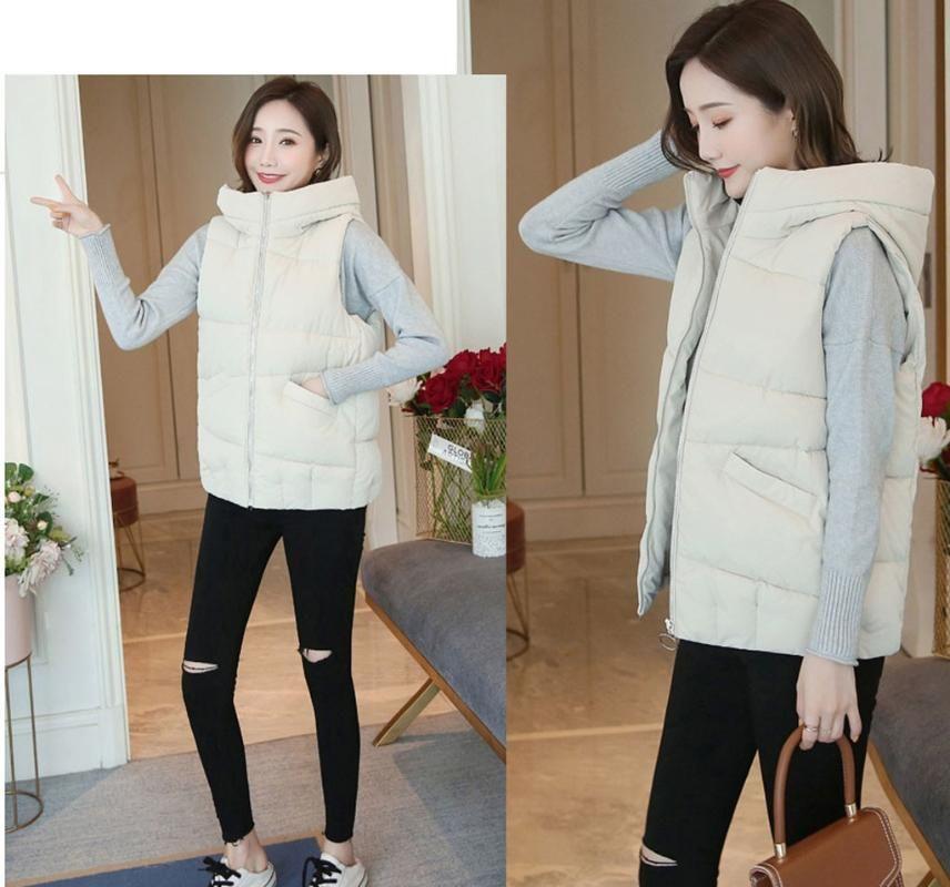 Inverno Mulheres Cotton Vest Jacket Casaco sem mangas com capuz curto Colete Outwear abrigos mujer invierno W823 2020