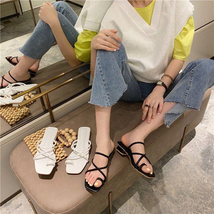 Los deslizadores del verano de las mujeres de banda estrecha Diapositivas gruesos zapatos de los tacones de las chancletas de playa poco profunda Moda Sandalias Mujer Negro Blanco 59eE #