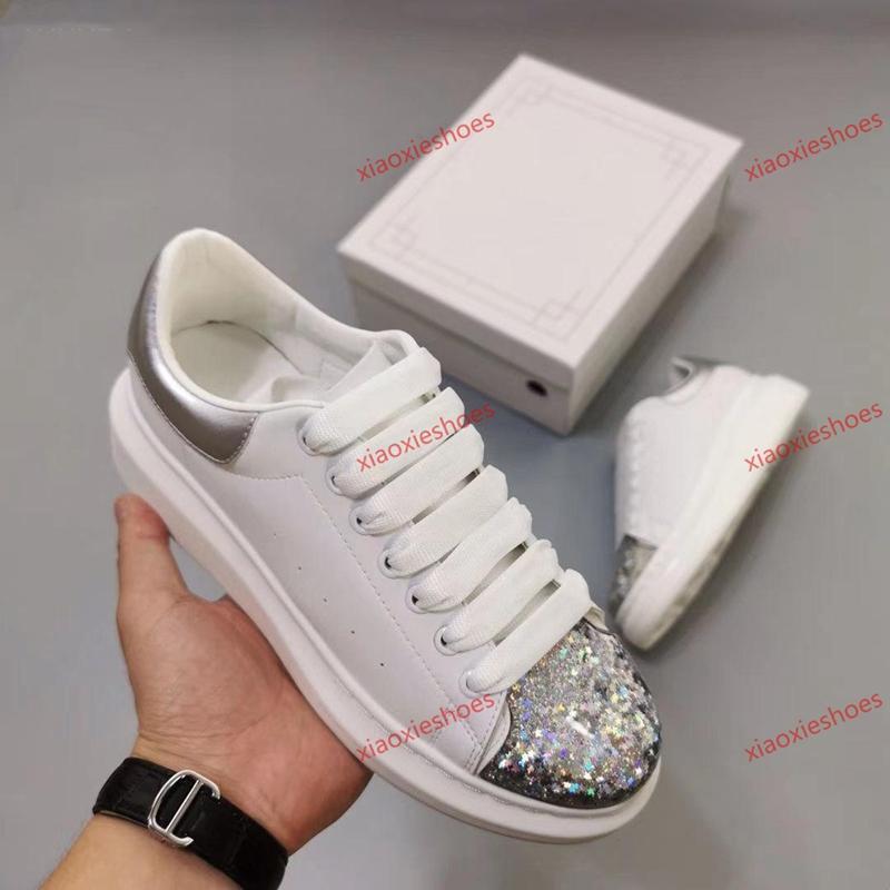 McQueen shoes  quente doce cor sapatos de couro Mulheres Homens Leather Suede Platform Plano Casual Shoe Glitter Reflective Triplo Sneakers Platform Vintage