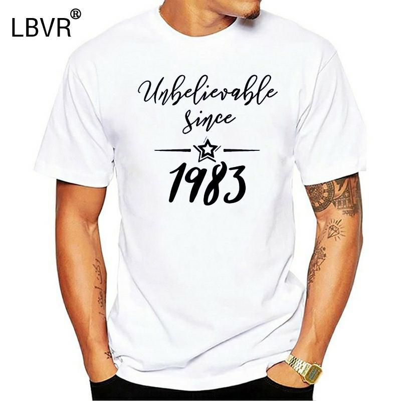 Louco costume 1983 camisas e presentes com Inacreditável desde 1983 Homens clássico Lazer T-shirt de algodão Camisetas 2020