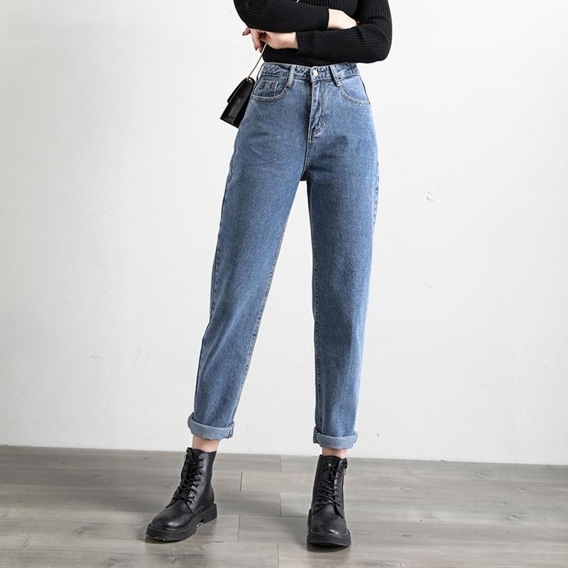 Shijia pantaloni casual Solid Harem Jeans alla caviglia di lunghezza dei pantaloni 2020 molla delle donne delle blue jeans a vita alta sciolti Denim Jeans Femminile LJ200911