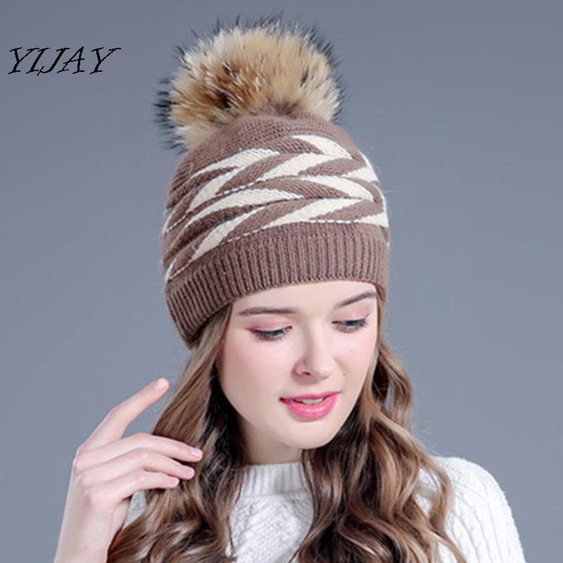 Beanie / Carrileras de cráneo Invierno Sombrero de punto de piel de doble cubierta para mujeres Pom Pom Poms Hats Bonnet Girl Skullies Gorros