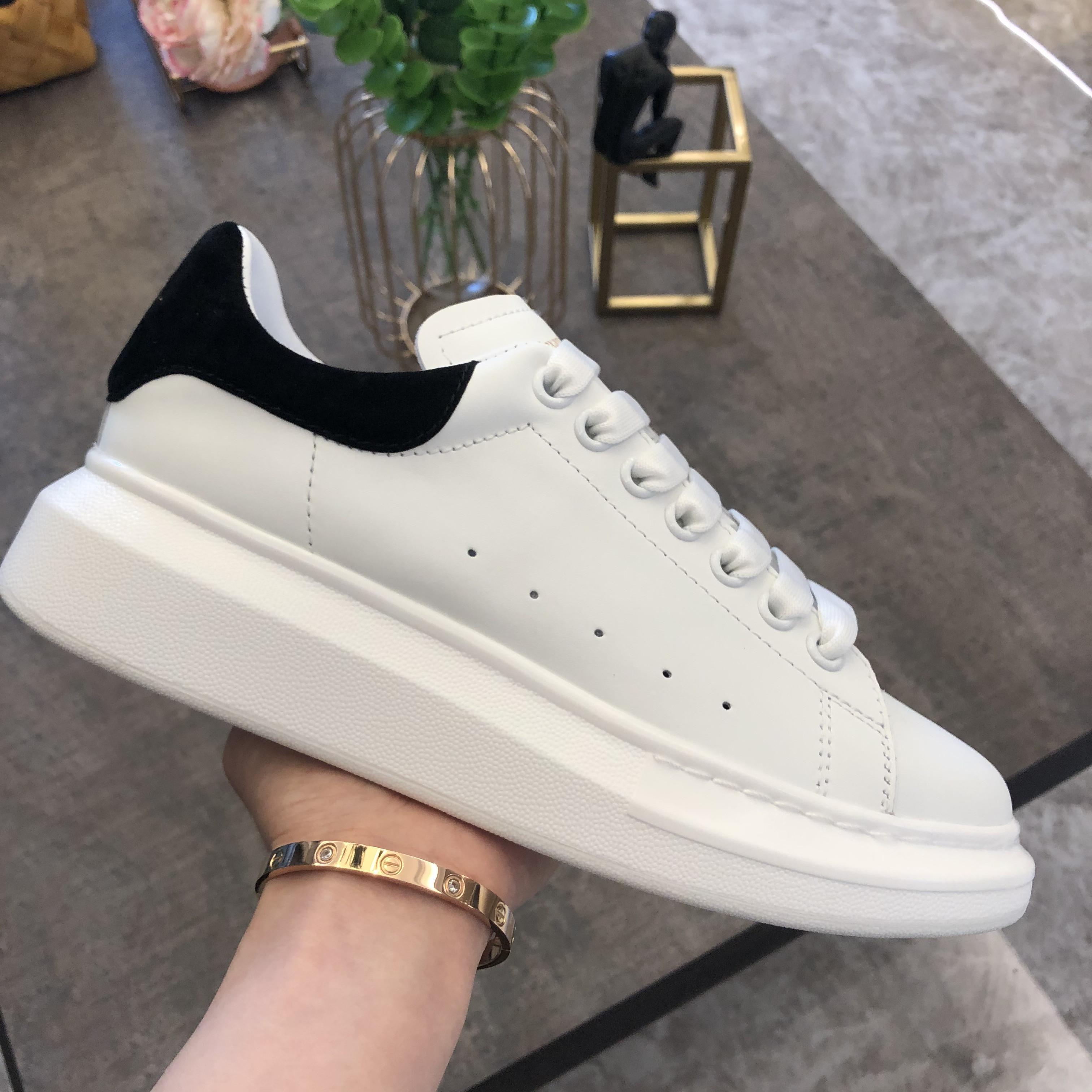 2020 calzados informales para mujer para hombre de gran tamaño Marfil Negro zapatillas de deporte de la plataforma del cuero plana Zapatos deportivos Zapatillas formadores de ocio