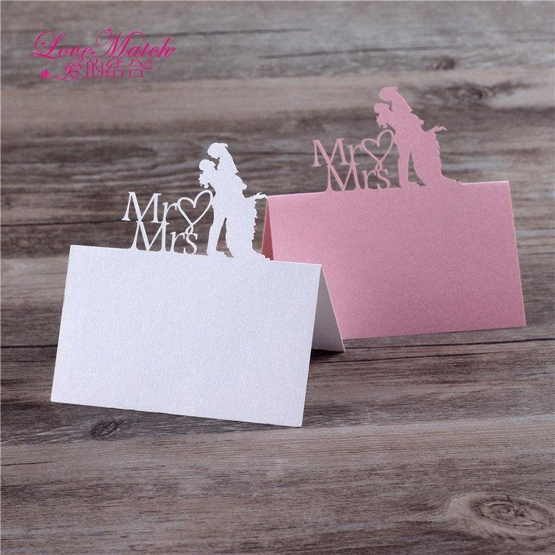 40pcs Sposi Laser Cut Nome tabella carta del posto di nozze favori Tabella carta di nome Pearl carta Wedding Decoration eT6C #