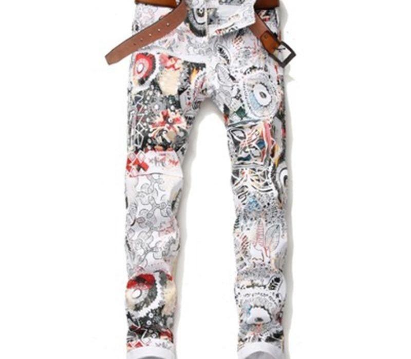 Hot Selling Men s Retro Hole Pants Casual Fashion Elastic Jeans Male European Style Doodle Pattern Pants Free99