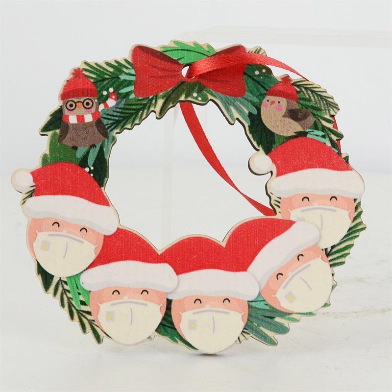 2020 Quarantine Weihnachtsverzierung Weihnachtsbaum hölzerne Schneemann hängen Pendent Weihnachtsmann Dekoration DIY Name Familie von 2-6 GGA3742-3