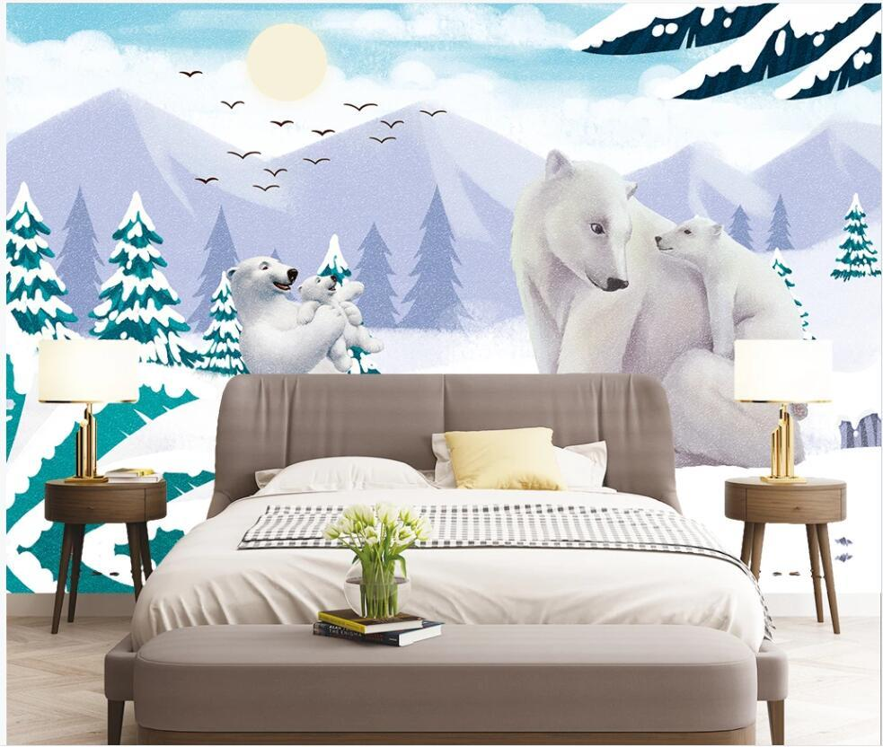 custom mural photo wallpaper 3d Cute little white bear in blue sky and white clouds snow glacier home decor wall papers in the living room