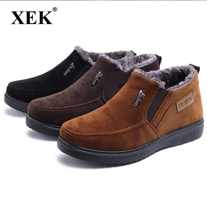 XEK 2020 neue Winterschuhe Männer hoch und Pelz super warm Stiefel Männer comefortable Schuhe flache beiläufige Baumwolle ZLL483