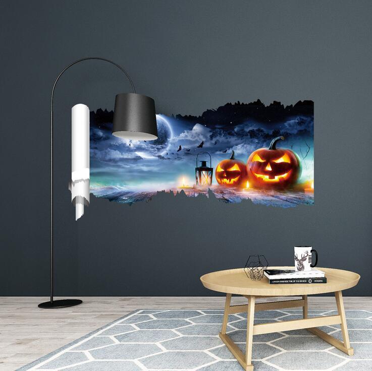 جدار ملصق 3D هالوين سعيدة غرفة الطابق ملصقات PVC الغريب الأمور المشارك القابل للإزالة جدارية القابل للإزالة جدارية الفن ديكور المنزل Festivel مائي