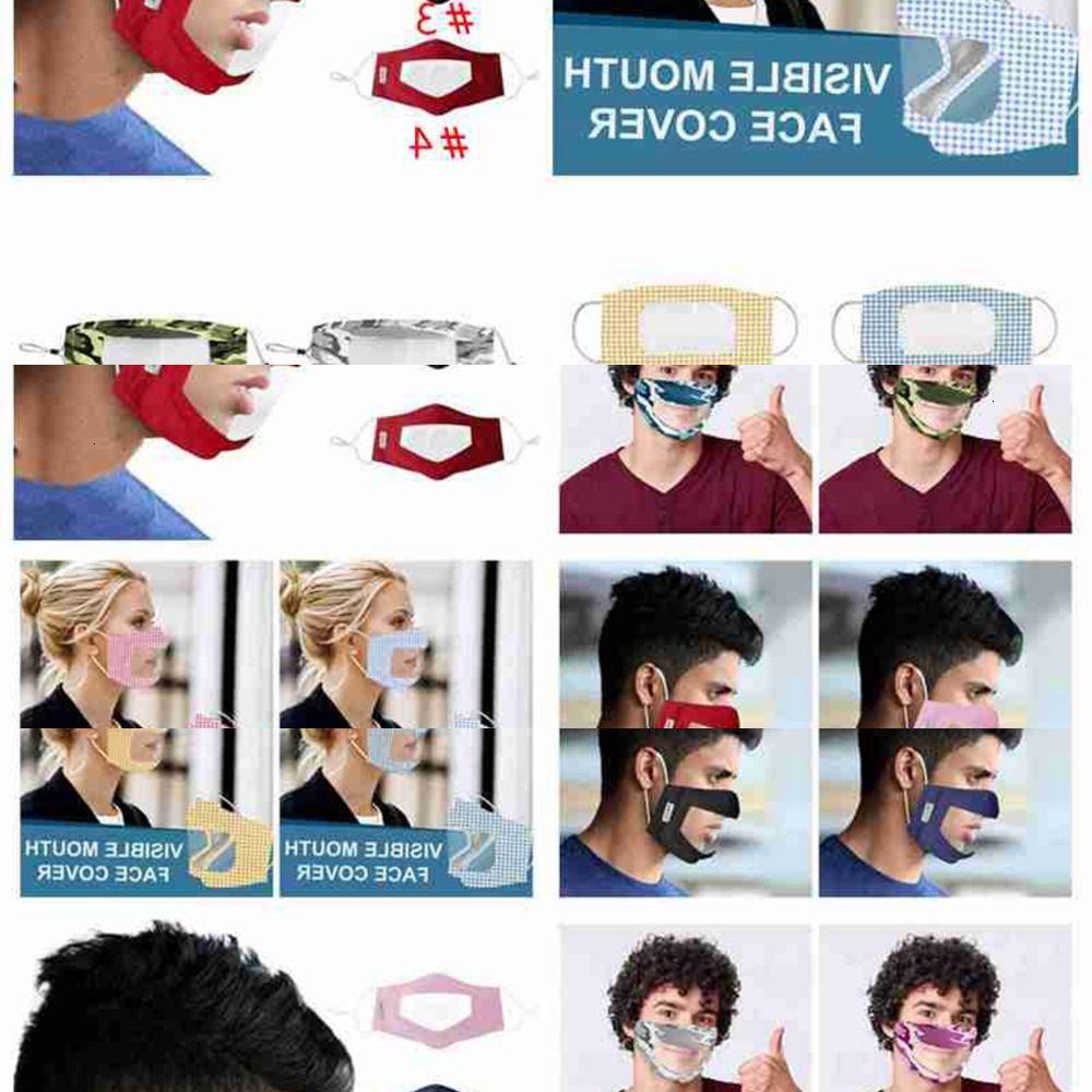 004V Anti bouche cache anti-poussière Masque visible réutilisable Lavable Adultes Fitness Fournitures Masques Visage Camo sourds-muets CYZ2643