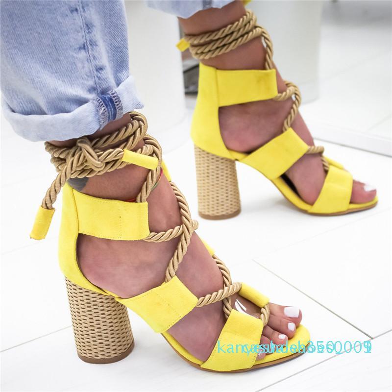 Yaz Espadrilles Kadınlar Sandalet Kenevir Topuk Sivri Balık Ağız Sandalet Kadın Lace Up Kadınlar Platformu Sandal k05