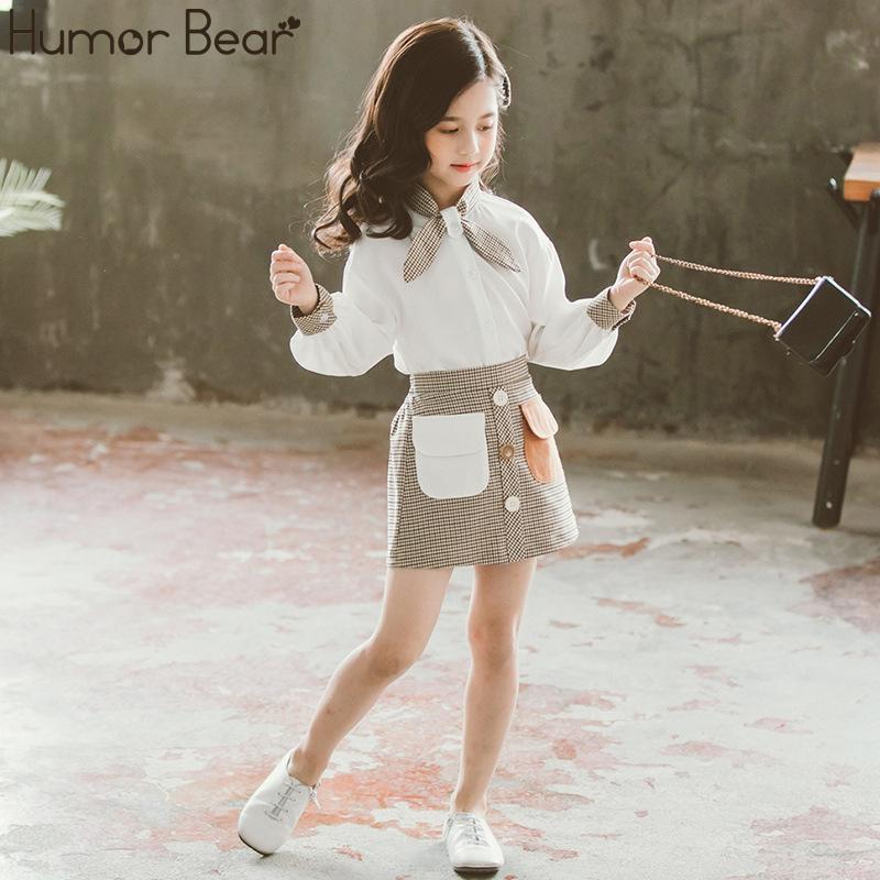 Юмор Медведь Детская одежда Set Осень Весна девочек-подростков Одежда Наборы для рубашек Девушки с длинным рукавом + Клетчатые юбки 2pcs Костюмы