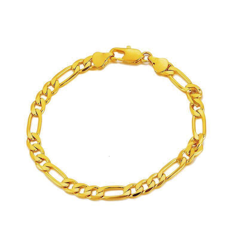 MxGxFam (20 cm x 5.6 mm) 24 k Sarı Altın Renk Figaro 3: Erkekler Kadınlar Sıfır 1 Zincir Bileklik Takı Alerji Serbest Tasarımlar