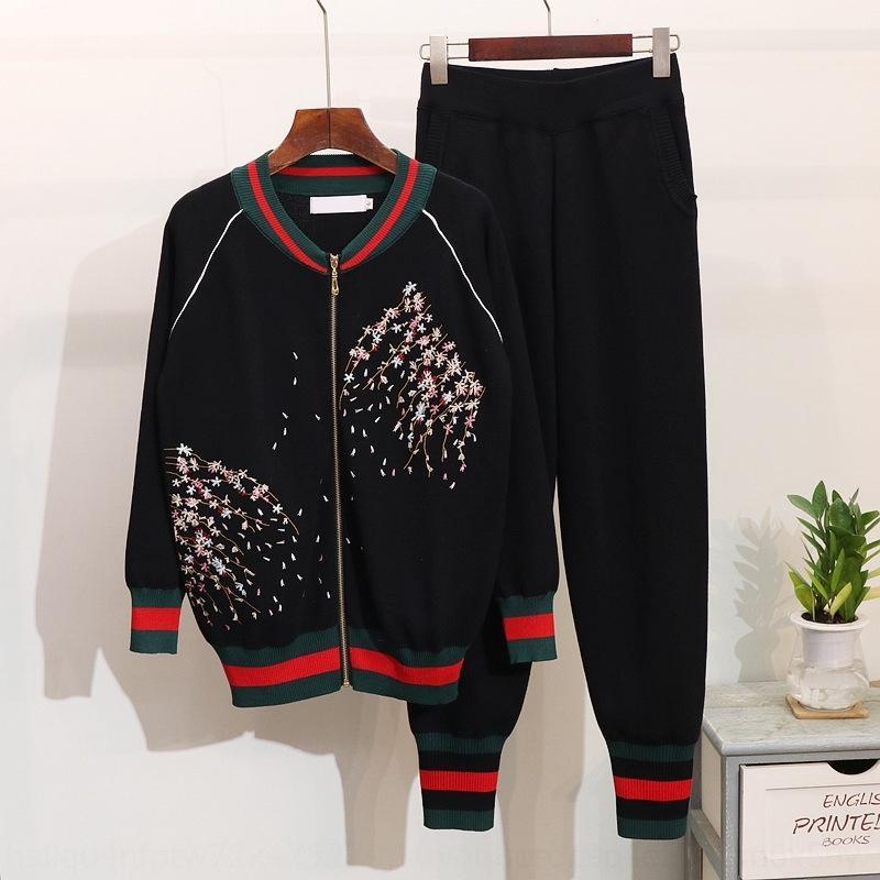 pantaloni DHhpa stile coreano nuove donne ricamato Plum Blossom tuta allentata tuta pantaloni set a maniche lunghe maglione autunno ricamato