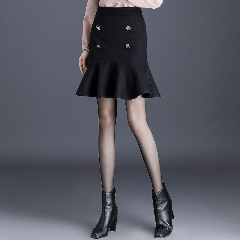 2020 Primavera Outono New saias tricô de lã saia de Midi Ladies cintura alta Casual plissadas Elastic Flared Womens Saias L17